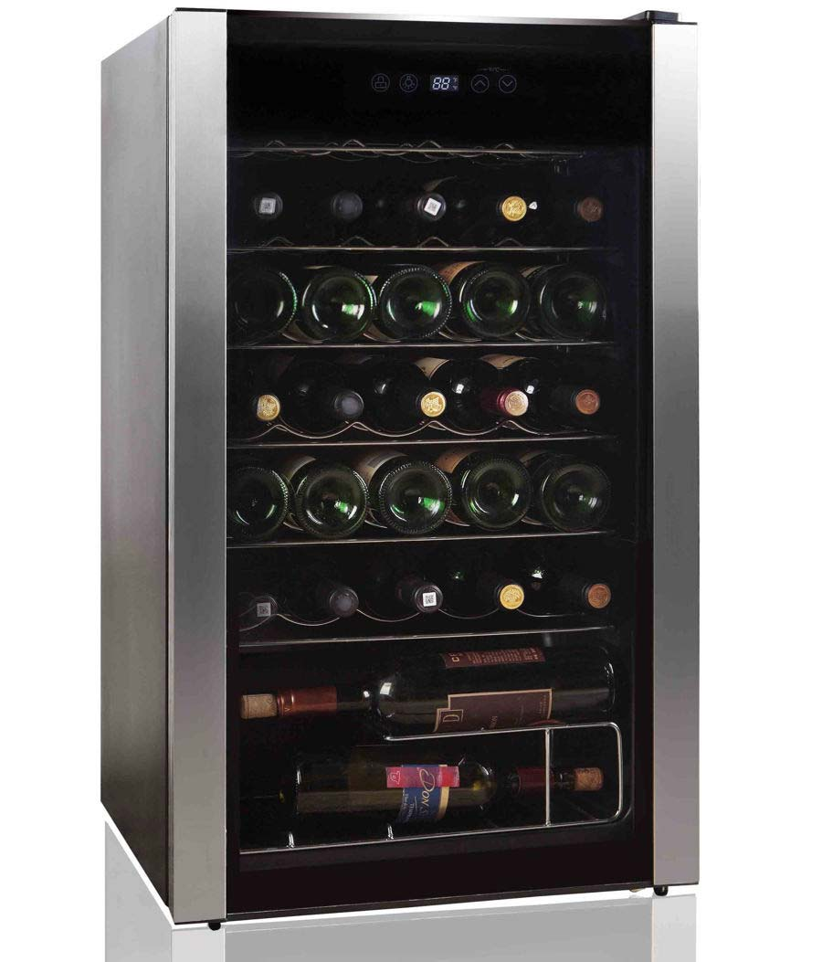 Belling 34 bottle wine cooler in stainless steel BWC34BK