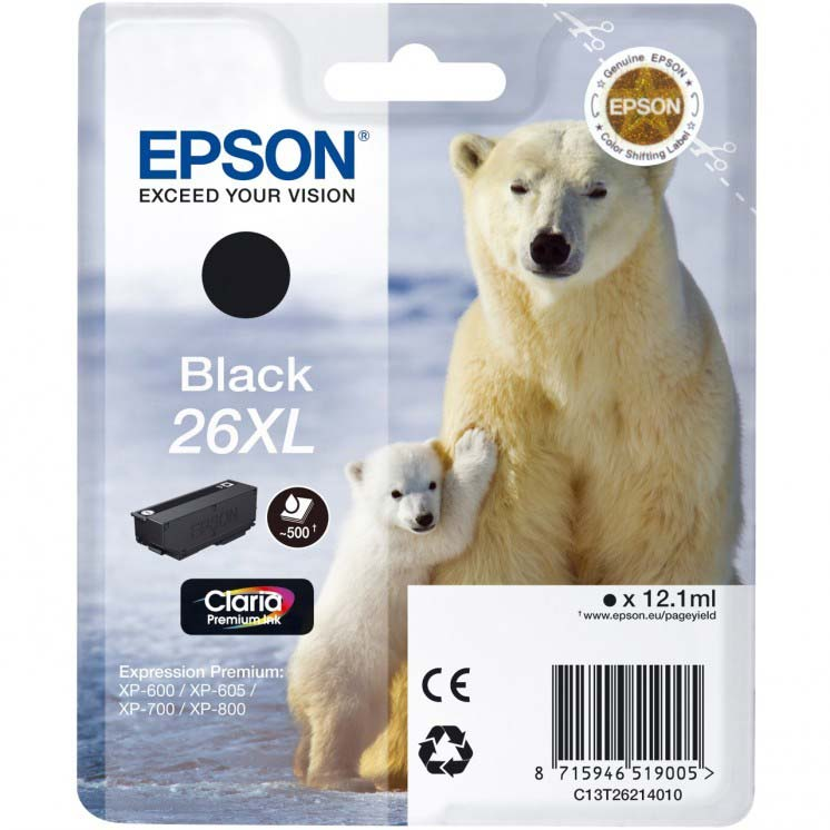 EPSON C13T26214010 POLAR BEAR BLACK XL INK