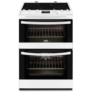 Zanussi ZCV66250BA 60cm Double Oven Electric Cooker With Ceramic Hob - White