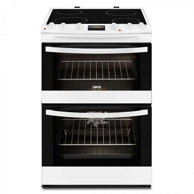 Zanussi ZCV66250BA 60cm Double Oven Electric Cooker With Ceramic Hob - White
