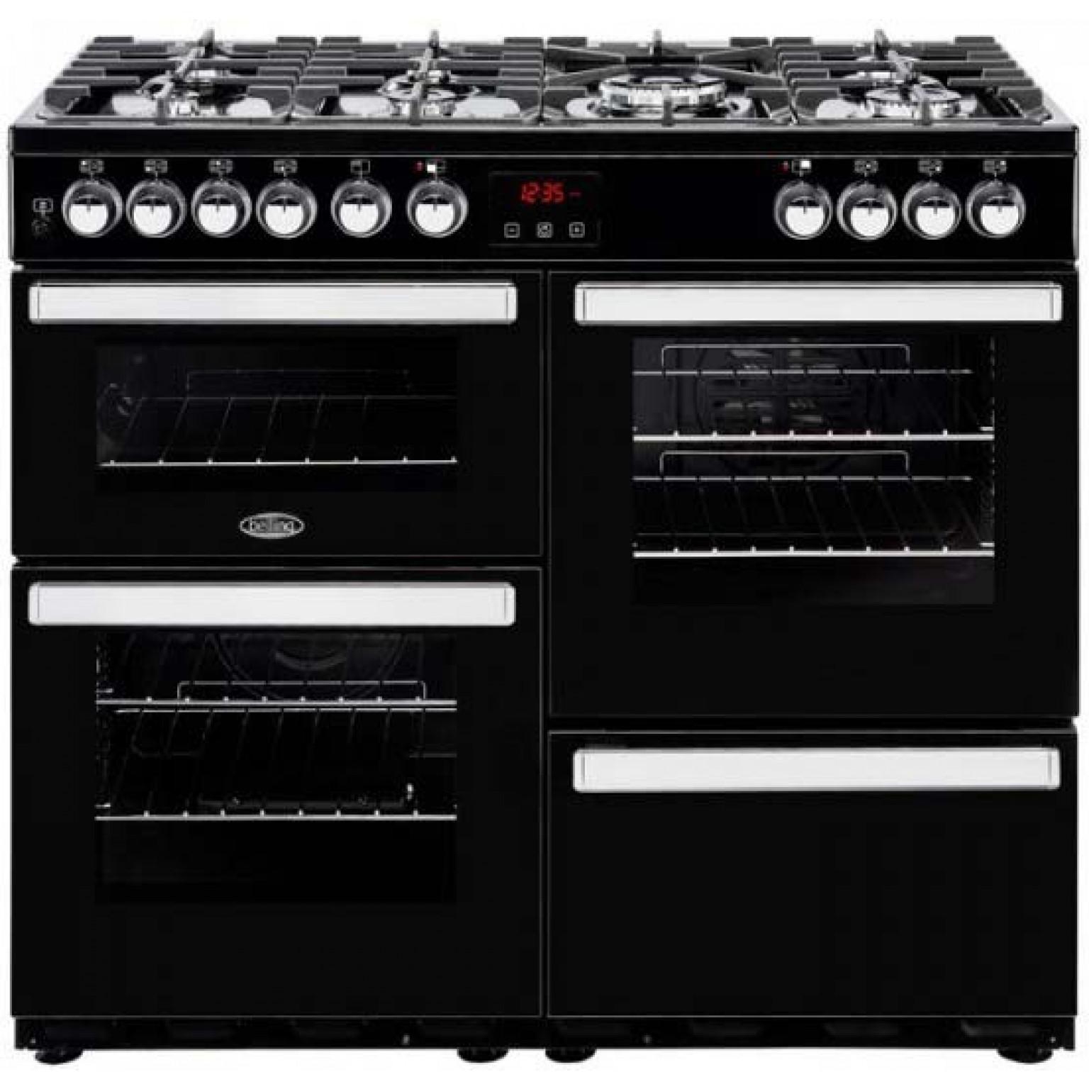 Belling Cookcentre 100cm Dual Fuel Range Cooker 100DFTBLK