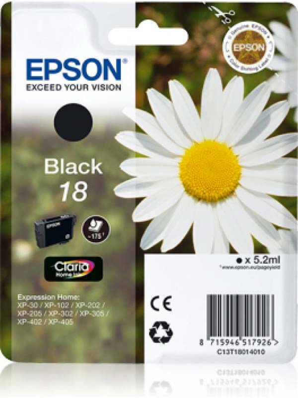 Epson Singlepack Black 18 Claria Home Ink C13T18014010
