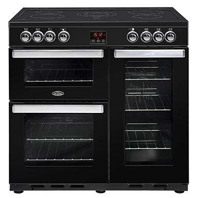 Belling 90cm dual fuel range cooker with 4kW PowerWok, Maxi-Clock, market leading tall oven and easy clean enamel 90DFTPROBK