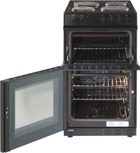 Belling 50cm double oven cooker with solid plate hob FS50EFDOBLK