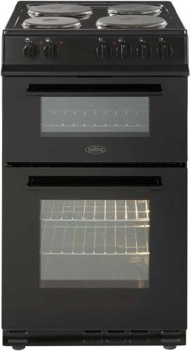 Belling 50cm double oven cooker with solid plate hob FS50EFDOBLK