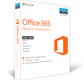 Microsoft Office 365 Personal Subscription 1 PC/Mac - 1 Tablet QQ2-00543