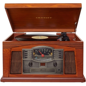 crosley lancaster entertainment system with vinyl, cd, cassette, bluetooth and radio wood (1)